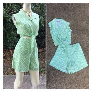VTG Rockabilly Style Crop Top & High Waist Shorts